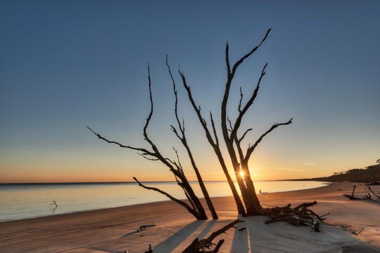 Sunrise awakens the vast shoreline of Big Talbot Island.